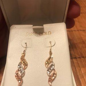 14k gold tri color swirl earrings